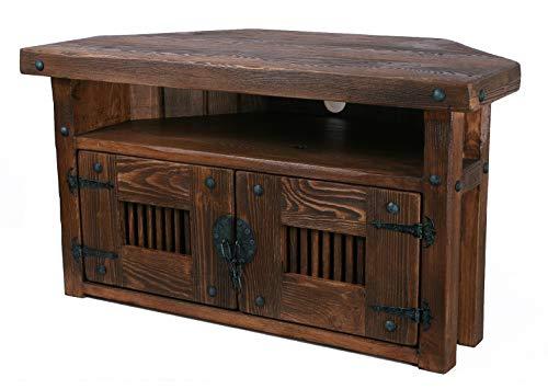 Own Design Meuble de rangement d'angle en bois rustique fait à la main avec étagère en bois foncé
