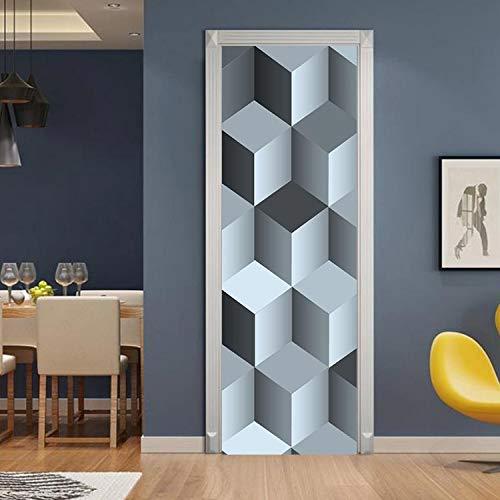 Nuevo Creative Art Rubik'S Cube 3D Pegatinas De Puerta Para Sala De Estar Dormitorio Pvc Autoadhesivo Diy Impermeable Mural Decoración Para El Hogar Calcomanías 215 * 95Cm