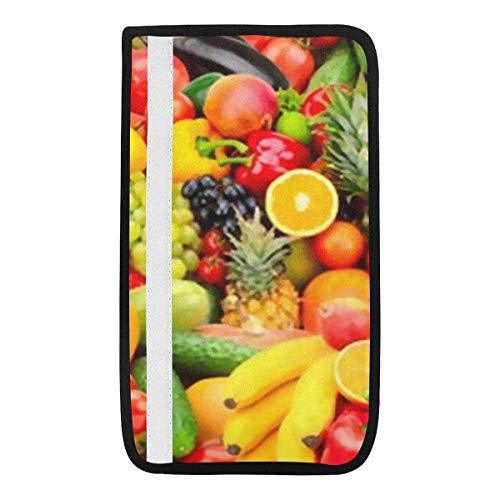 Universelle Abdeckung für Autositzgurtpolster, verschiedene frische reife Früchte Gemüse Lebensmittel Sicherheitsgurt Schultergurtbezüge, weicher Komfort schützt Ihren Nacken
