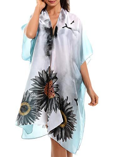 CORAFRITZ Traje de baño de moda de verano para mujer, manga corta, cárdigan largo, estampado floral, para mujer