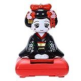 TOOGOO Solar Betriebene Bobble Kopf Spielzeug Figur, Japanischer Kimono Maiko Geisha - Schwarz