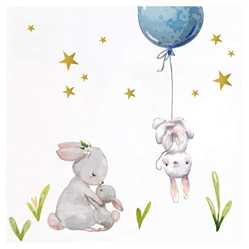 Little Deco Aufkleber Jungen Kinderzimmer Hasen mit blauen Ballon Sterne Jungs Wandaufkleber Wandtattoo Tiere Deko Babyzimmer Kinder Wandsticker Sticker DL209-11