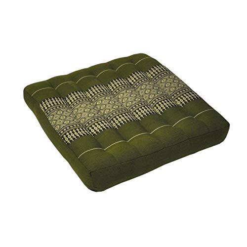 Wifash Lot de 2 Coussins Plats, Galette de siège (36x36cm), Assise pour Chaise Fauteuil canapé, fabriqué en Thaïlande, Vert (2x81821)