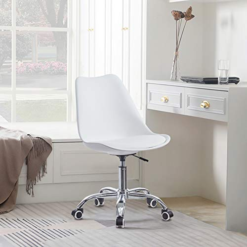 TUKAILAI Adjustable Swivel Desk Chair with Wheels Computer Office Chair Task Chair Reception Chair for Home Office Study White