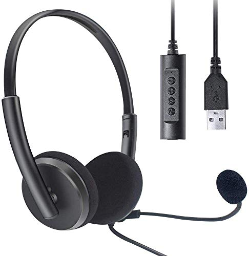 USB Headset Computer, Headset with Microphone, Lightweight PC Headset Wired Headphones Business Headset for Skype Webinar Cell Phone Call Center (Black)