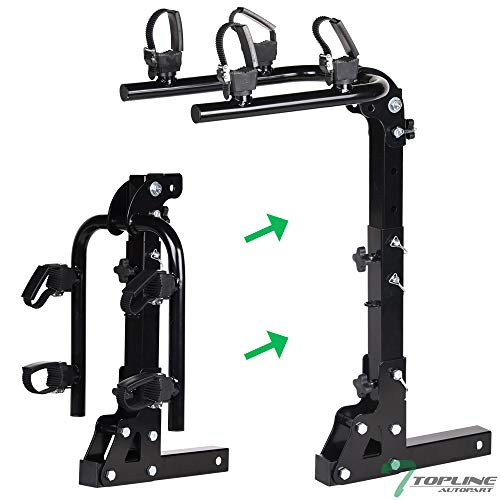 """Topline Autopart Universal Black 2-Bicycle Adjustable Foldable Style Trailer Tow Mount Rear Hitch Bike Rack Carrier For 2"""" X 2"""" Towing Receiver Tube"""