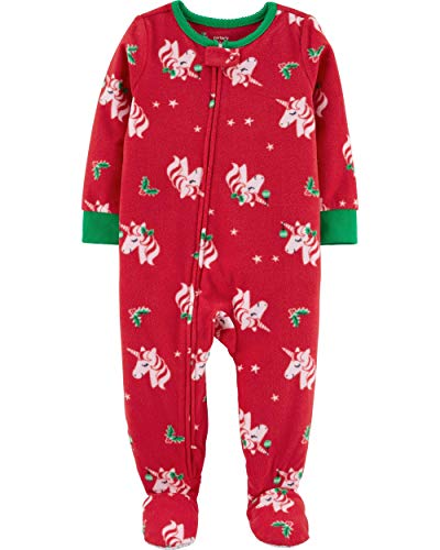 Carter's Girls' 1-Piece Fleece PJs (4T, Red/Christmas Unicorn)