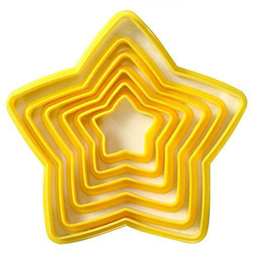 6pcs Décoration Étoiles Emporte Biscuits Sapin De Noël Four Moule Gâteau 3D Cinq a pour Cadeau De Noël Découpoirs