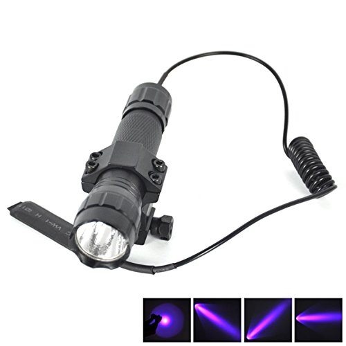 1 Set (1-Pc) Notable Fashionable 600 Lumens UV LED Flashlights Aluminum Alloy SWAT Torch Rifle Gun Rail Military Grade Police Lights Color Black with Mount and Pressure Switch