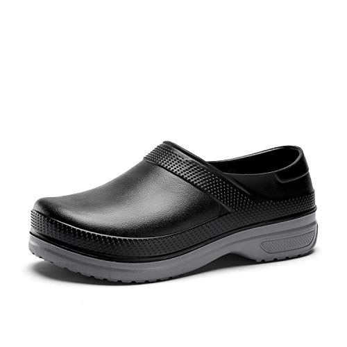 FlowerZone Men Black Shoe Chef Nurse Shoes Non Slip for Oil Resistant Waterproof Safety Work for Crews Gardener Men Women Indoor and Outdoor Slippers Sneakers for Kitchen Office Seaside