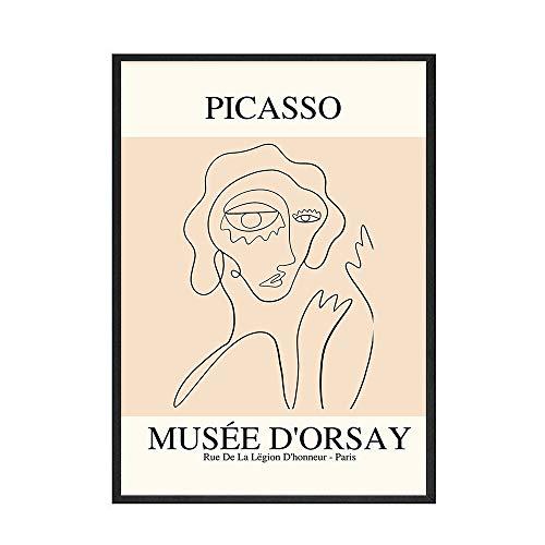 Retro Picasso Pájaro de la paz carteles e impresiones línea abstracta mujer desnuda lienzo pintura pared arte imágenes dormitorio decoración C 60x80cm