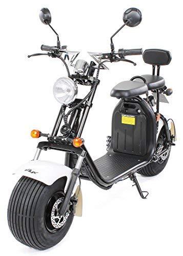 eFlux Chopper Two Elektro Scooter 1500 Watt 60 Volt 20AH mit Straßenzulassung 35 Kilometer Reichweite viele Farben (Schwarz/Weiß)