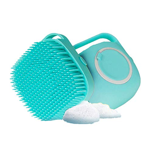 Dog Bath Brush, MISTHIS Pet Massage BrushShampoo Dispenser, Soft Silicone Brush Rubber Bristle for Dogs and Cats Shower Grooming(Blue)