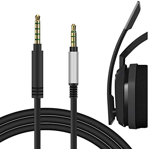 Geekria QuickFit Audio Cord Compatible with Astro Gaming A40 tr, A40, A30, A10 Gaming Headsets Cable / 4 Steps to 5 Steps 3.5mm Male to 3.5mm Male AUX Replacement Cable (Black 5.6FT)