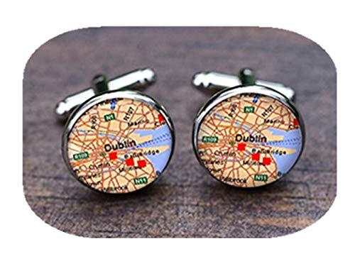 Leonid Meteor Gemelos con diseño de cuadros Dublín, accesorios de mapa de Dublín, gemelos de dublin ireland