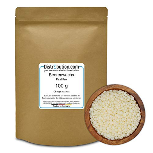 DistrEbution 100 g Beerenwachs/Japanwachs in Pastillen, veganes & pflanzliches Wachs, für Naturkosmetik und mehr