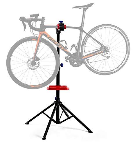 ROCKBROS Caballete para Bicicleta Soporte de Reparación Plegable Rotación 360° Altura 108 - 174CM con Bandeja Negro