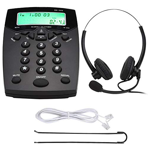 Sxhlseller Teléfono de Centro de Llamadas Teléfono de Negocios portátil con Auriculares con Cable Teléfono de Centro de Llamadas Teclado de marcación Teléfono con Pantalla LCD(BN200 + A16)