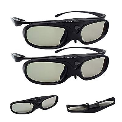 Blibro DLP 3D Glasses Active Shutter Rechargeable Clip on Glasses Compatible with Samsung PANASONIC BenQ W1070 W700 Dell DLP Projectors (2 Pack)