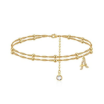 MONOOC A Initial Ankle Bracelets for Women, 14K Gold Plated Dainty Anklet Letter A, Double Layered Anklets for Women