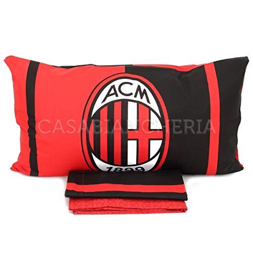 Milan 6391 673 P501 Completo Letto Una Piazza, Cotone, Rosso, Singolo, 90 x 200 cm