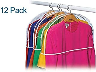 LUXEHOME Reusable Folding Clear Vinyl Shoulder Cover Garment Bags for Suits, Cloth, Protects Storage Home Decor, Set of 12