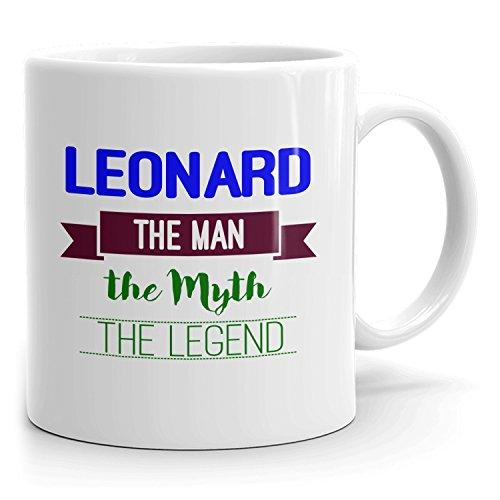 Leonard Kaffeetasse, personalisiertes Geschenk, The Man the Myth The Legend – 325 ml, Weiß – Blau 2