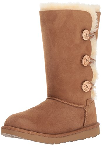 UGG Kids' Bailey Button Triplet II Boot, Chestnut, 5 M US Big Kid