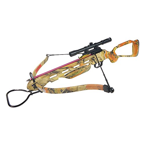 150 lb Black/Wood/Camouflage Hunting Crossbow Archery Bow + 4x20 Scope +7 Arrows + Rope Cocking...