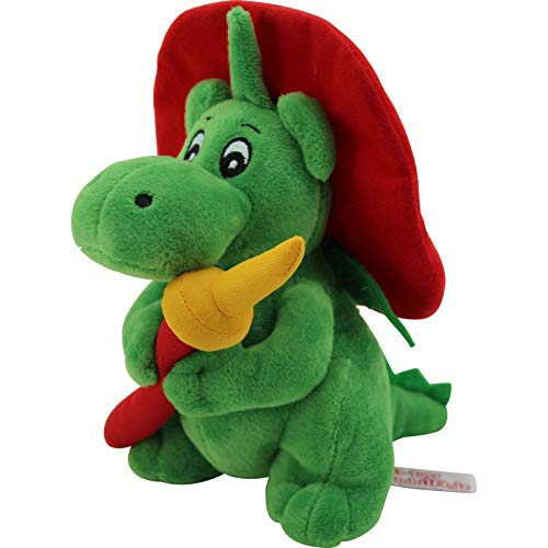 Sweety Toys 11025 Drache XL GRISU 20 cm mit Feuerwehrschlauch Feuerwehr Maskottchen Plüsch ca. 20 cm