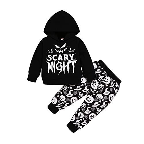 Newborn Infant Baby Boy Boys Girls Ropa Set Halloween Sudadera Sudadera Pantalones Set Trajes de chándal (Color : Negro, Tamaño : 18-24 Months)