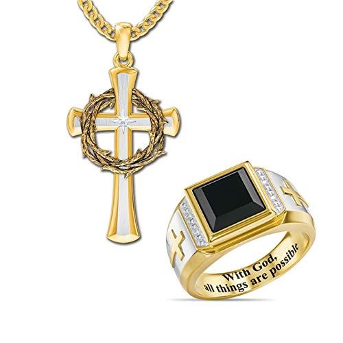 Lucky Meet Anillos para hombre, acero inoxidable 316L para hombre, oración del Señor, anillos cruzados, anillo de sello de esmalte negro punk vintage con collar cruzado (caja de regalo)