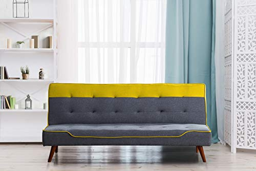 Comfy Living Fabric Sofa Bed 3 Seater Recliner With Wooden Legs - Grey Red Blue Yellow Cream (Yellow)