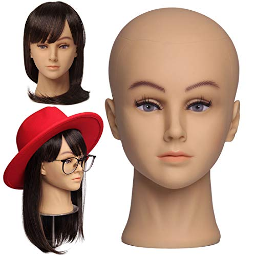 NEWSHAIR Bald Mannequin Head with Eyelash Female Wig Head Professional Cosmetology for Wig Making and Display Hat Helmet Glasses or Masks Display Head Model with Free T-Pins
