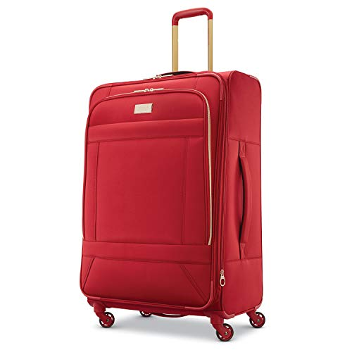 American Tourister Belle Voyage Softside Luggage with Spinner Wheels, Red, Checked-Large 28-Inch