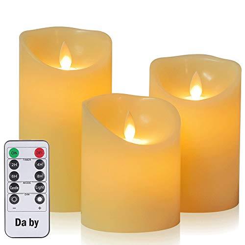 Da by LED-Kerzen, Flammenlose Kerze 300 Stunden Batterie Dekorative Kerzen Set 3 (10cm, 12.8cm, 15.2cm). Die echt blinkende LED-Flamme ist aus elfenbeinfarbenem Echtwachs gefertigt.10-Tasten-Fern