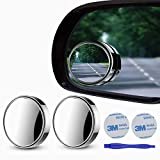 2 pcs Blind Spot Mirrors, 2' Round HD Glass Convex 360°Wide Angle Side Rear View Mirror withABS Housing for Cars SUV and Trucks, Silver, Pack of 2