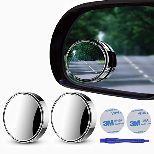 """2 pcs Blind Spot Mirrors, 2"""" Round HD Glass Convex 360°Wide Angle Side Rear View Mirror withABS Housing for Cars SUV and Trucks, Silver, Pack of 2"""