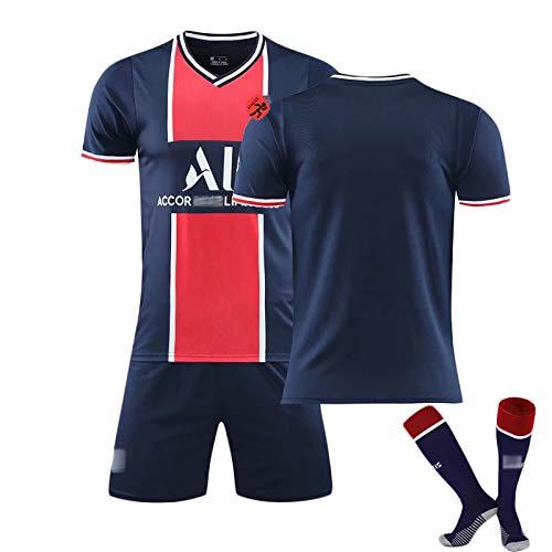 YLHLZZ Paris Football Jersey, Mbappe 7 Neymar 10 Kurzarm, 20/21 T-Shirt (Home), Fußball Trainingsanzug für tägliche Freizeit und Sport, Wettkampf-Traininganzug Customizable -XL