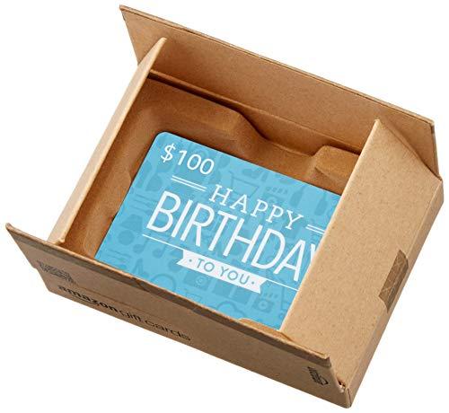 Amazon.ca $100 Gift Card in a Mini Amazon Shipping Box (Birthday Icons Card Design)