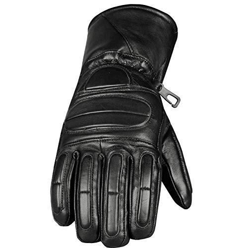 Motorcycle Biker Premium Leather Winter Thinsulate Full Gloves Black L