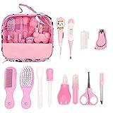 Kit de cuidado diario para bebés, set de cuidado para recién nacidos, kit de cuidado de la salud del bebé, 13 piezas, artículos esenciales para recién nacidos,limpiador de nariz,peine (rosa)