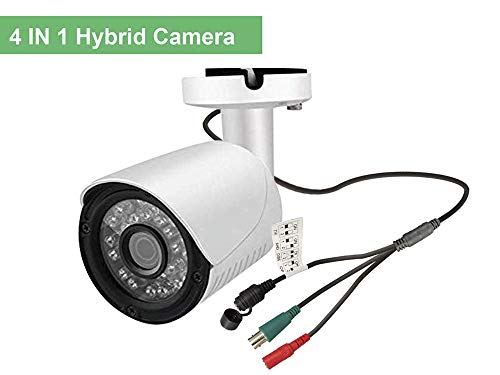 Cámara De Seguridad 2MP, 1080P Hybrid 4 in1 Bullet CCTV Cámara Myada HD CCTV Cámara 3000TVL, 4 IN 1,Lente de 3.6mm, 12PCS SDM Led, Apoyo UTC, BNC, IP66 Impermeable, HD TVI/CVI/AHD/CVBS Switchable