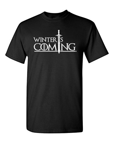City Shirts Mens Winter is Coming DT Adult T-Shirt Tee (Large, Black)