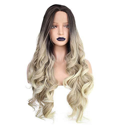 L.W.S Perruque Coiffure Hair Budged Silk Hood Hood Femme Grand Linge de Lin ondulé 26 Pouces Centre Parting Perruque de Fibre Chimique à Cheveux bouclés Longue Perruque