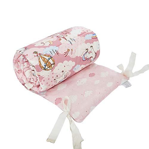 TEALP Protector de Cuna, Protector Cuna Chichonera para Proteger Bebe, algodón protector para bordes, Parachoques 180cm x 30cm, unicornio rosa