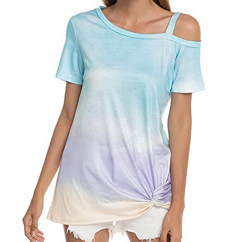 PRJN Camiseta con Efecto Tie-Dye para Mujer, Camisetas de Manga Corta, Dobladillo Largo, Camisetas Casuales de Verano, Blusa básica, Camiseta de Verano para Mujer Manga Corta Suelta Color Degradado