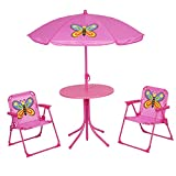 Kids Folding Picnic Table and Chairs Set with Removable Beach Umbrella Mini Camping Table Set with 2 Butterfly Pattern Chairs Sunshade for Children Outdoor Garden Beach Patio Use(Butterfly Pattern)