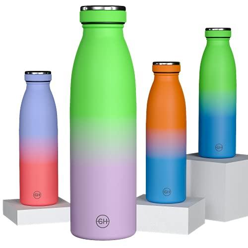 GH Botella de Agua acero Inoxidable 500ml Lima Lila | Frasco de Agua de Metal Reutilizable | Botella Termica Doble pared al vacío | Botella de bebida reutilizable Sin BPA, Antigoteo y Prueba de Fugas