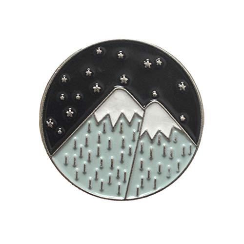Pines para mochilas, Dibujos Animados Montaña Luna Estrella Esmalte Redondo Broche Pin Insignia Ropa Mochila Decoración - 2#
